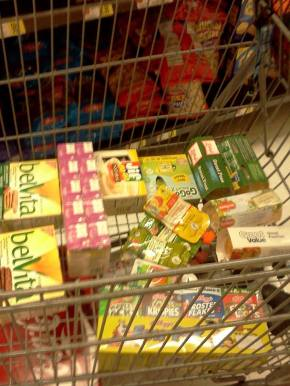 Items in the cart: 2 boxes of cookies, juice boxes, individual peanut butter (that was one of the things the woman screamed at me about while thrusting her jar in my face), applesauce and smoothie pouches, fruit and vegetable cups, and the only individual boxes of cereal the store carries.